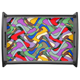 Funky Abstract Colorful Waves Serving Tray