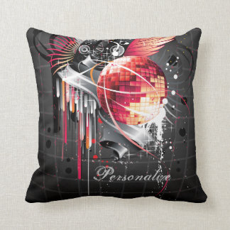 Funky Abstract Girly Disco Ball Music Design Throw Pillow