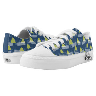 Funky, abstract green and blue geometric shapes low tops