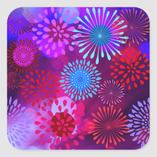 Funky Abstract Sparkle Shine Flower Petals Square Stickers