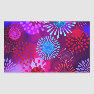 Funky Abstract Sparkle Shine Flower Petals Rectangle Sticker