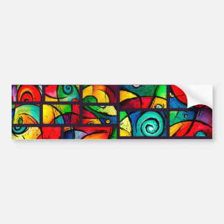 Funky Abstract Swirly Art Car Bumper Sticker