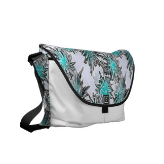 funky abstract teal white #15 commuter bags
