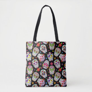 Funky and cool looking assortment of sugar skull tote bag