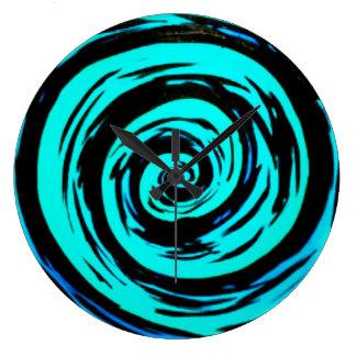 Funky Aqua Hypnotic Swirl Art Large Clock