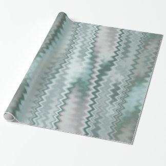 Funky Aqua Random Zig Zag Fractal Pattern Wrapping Paper