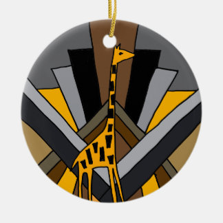 Funky Artistic Art Deco Giraffe Original Round Ceramic Decoration