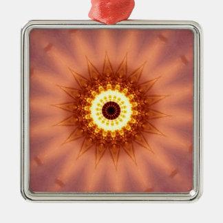 Funky Artistic Chic Peach Yellow Mandala Metal Ornament