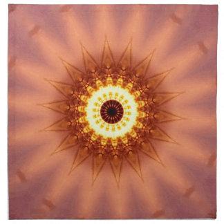 Funky Artistic Chic Peach Yellow Mandala Napkin