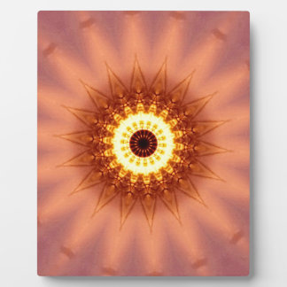 Funky Artistic Chic Peach Yellow Mandala Plaque