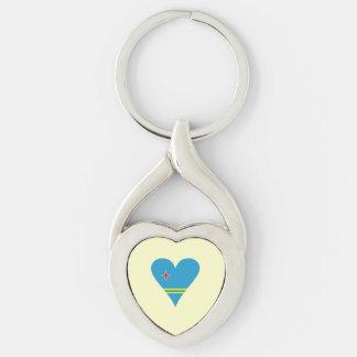 Funky Aruba Heart Flag Key Ring
