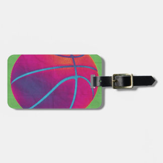 Funky basketball luggage tag