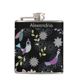 Funky bird and flower patterned monogrammed hip flask