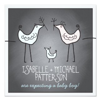 Funky Birds Modern Chalkboard Couples Baby Shower 13 Cm X 13 Cm Square Invitation Card