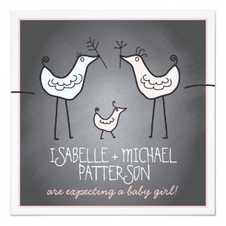 Funky Birds Modern Chalkboard Couples Baby Shower Card