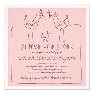 Funky Birds Modern Family Couples Girl Baby Shower Custom Announcements