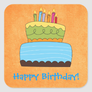 Funky Birthday Cake Happy Wishes Sticker