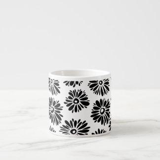 Funky Black and white floral Espresso Mug