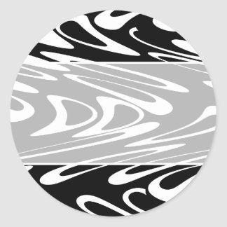 Funky Black and White Pattern. Round Sticker