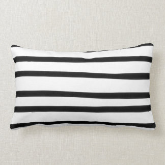 Funky Black and White Stripe Abstract Hand Drawn Lumbar Cushion