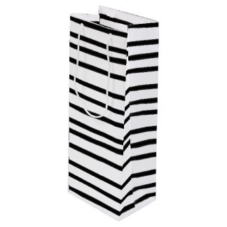 Funky Black and White Striped Abstract Hand Drawn Wine Gift Bag