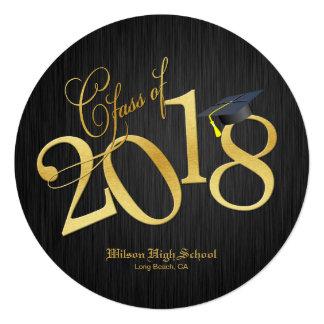 Funky Black & Gold Class of 2018 Graduation Card