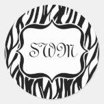 Funky Black/White Zebra Monogram