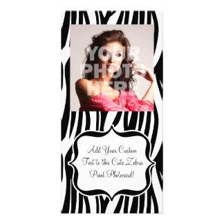 Funky Black/White Zebra Monogram Customised Photo Card