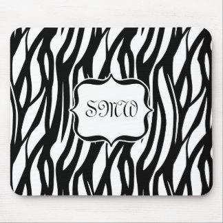 Funky Black/White Zebra Monogram Mouse Mats