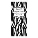 Funky Black/White Zebra Monogram Personalised Rack Card