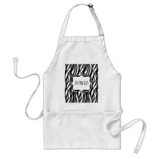 Funky Black/White Zebra Monogram Standard Apron