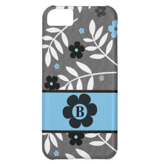 Funky Blue and Gray Floral Monogram iPhone 5C Case