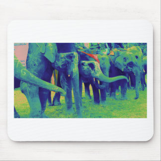 Funky Blue and Green Elephants in Chitwan, Nepal Mouse Pad