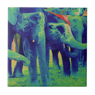 Funky Blue and Green Elephants in Chitwan, Nepal Small Square Tile