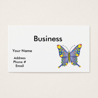 funky blue butterfly business card