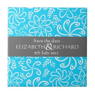 Funky blue flowers and leaves Save the date Tile