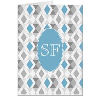 Funky Blue Gray Diamond Monogram Card
