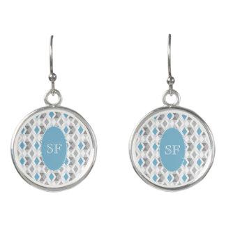 Funky Blue Gray Diamond Monogram Earrings