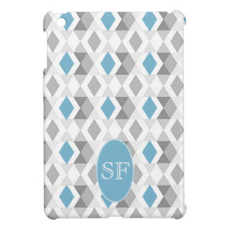 Funky Blue Gray Diamond Monogram iPad Mini Cover