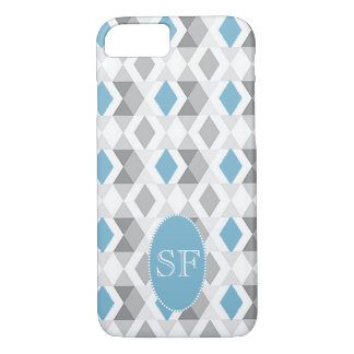 Funky Blue Gray Diamond Monogram iPhone 8/7 Case