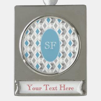 Funky Blue Gray Diamond Monogram Silver Plated Banner Ornament