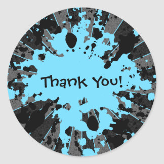 Funky blue paint splatter paintball thank you round sticker