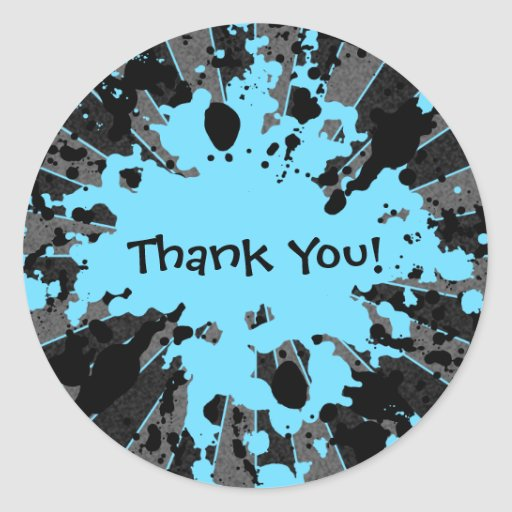 Funky blue paint splatter paintball thank you stickers
