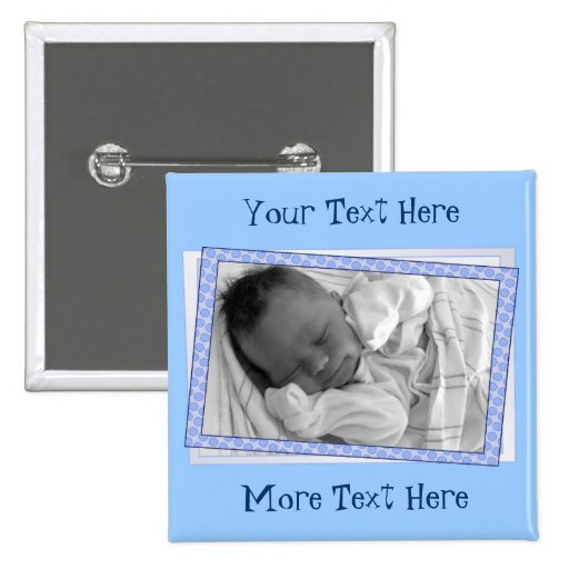Funky Blue Polkadot Frame Button