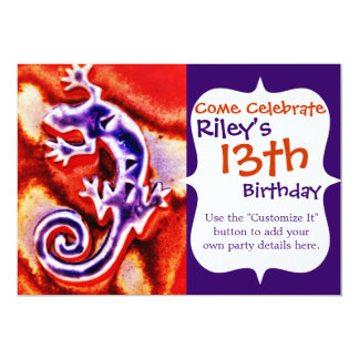 Funky Blue Purple Orange Lizard Gecko Southwestern Card