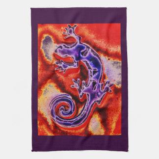 Funky Blue Purple Orange Lizard Gecko Southwestern Tea Towel
