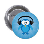 Funky Blue Retro Owl With Headphones Pinback Button