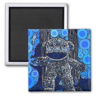 Funky Blue Sock Monkey Circles Bubbles Pop Art Magnet