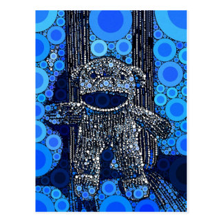 Funky Blue Sock Monkey Circles Bubbles Pop Art Postcard