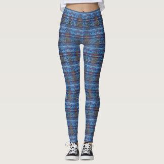 Funky Blue Tropical Patterns Leggings